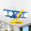 Blue Gilder LED Pendant Light Eye-Caring 4 Heads Frosted Glass Pendant Lamp for Boys Bedroom