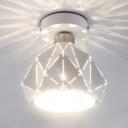 Modern Hollow Bowl Flush Mount Light One Light Metal Ceiling Light in White for Bar Hotel