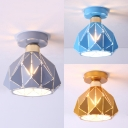1 Light Hollow Bowl Ceiling Mount Light Nordic Style Metal Ceiling Lamp in Blue/Gray/Gold for Child Bedroom