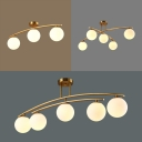 3/4/5 Lights Semi Flush Ceiling Light Modern Milk Glass LED Ceiling Fixture in Gold for Study Room