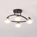 Glass Oval Shade Semi Flush Mount Light Dining Room 4/7 Bulbs LED Ceiling Lamp in Black/Gold/White