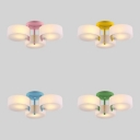 Macaron Loft Round Ceiling Light Acrylic 3 Heads Blue/Green/Pink/Yellow Semi Flush Light for Child Bedroom