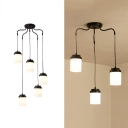3/5 Lights Cylinder Pendant Light Simple Stylish Frosted Glass Ceiling Light in Black for Living Room
