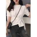 Unique Stylish Irregular Tied Front Round Neck Short Sleeve Fitted Cotton T-Shirt