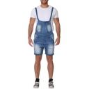 Mens Light Blue Vintage Washed Bleach Denim Shorts Overalls