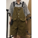 Vintage Button Front Simple Plain Casual Loose Khaki Rompers Overalls