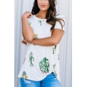 Summer Funny Cactus Pattern Round Neck Short Sleeve White Loose Tee