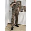 Guys Cool Street Fashion Hip Hop Style Khaki Leopard Printed Short Sleeve Hair Stylist DJ Coveralls Jumpsuits