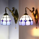 Tiffany Style Dome Sconce Light with Mermaid & Pull Chain 1 Light Glass Wall Light for Foyer
