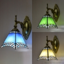 Stained Glass Cone Sconce Light 1 Light Tiffany Style Wall Lamp in Beige/Blue/Green for Bedroom