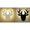 Acrylic Deer LED Wall Light Adult Kid Bedroom Modern Black/White Scone Light in White/Warm
