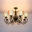 Villa Hotel Conical Pendant Light Stained Glass 8 Lights Tiffany Style Rustic Chandelier