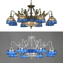 Mediterranean Style Aged Brass/White Chandelier Dome Cone Stained Glass Hanging Lamp with Mermaid for Living Room