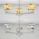 Mosaic Blue/Yellow Chandelier Drum Shade 3 Lights Glass Shell Hanging Light for Restaurant Kitchen