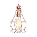 Wire Frame Pendant Lamp with Adjustable Cord Dining Room 1 Light Rustic Ceiling Light in Rose Gold