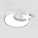 White Star Moon Ceiling Light Acrylic LED Flush Mount Light with White Lighting for Child Bedroom