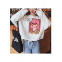Chic Cartoon Letter Print Drawstring Hem Round Neck Long Sleeve Loose Fit Sweatshirt