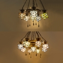 Stained Glass Star Shade Chandelier 6/9 Lights Tiffany Style Hanging Lamp for Shop Bar