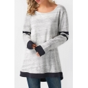 Gray Long Sleeve Round Neck Color Block Stripe Patched Tunic T-Shirt