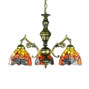 Stained Glass Dragonfly Pendant Light Dining Room 5 Lights Tiffany Style Rustic Chandelier