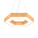 Office Hexagon LED Hanging Light Wood Creative Beige Ceiling Pendant in Neutral/Warm/White