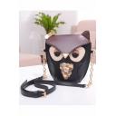 Cute Creative Owl Pattern Bow Embellishment Black Crossbody Purse