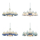 Tiffany Style Nautical Chandelier 11 Lights Glass Hanging Light in Blue/White for Living Room