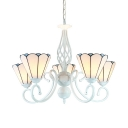 Cone Dining Room Hanging Light Glass Metal 5 Lights Tiffany Style Chandelier in White