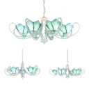 Art Glass Flower Chandelier 5/6/8 Lights Tiffany Style Suspension Light in Blue for Dining Room