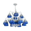 Glass Dome Suspension Light with Mermaid Living Room 15 Lights Tiffany Style Chandelier in Blue