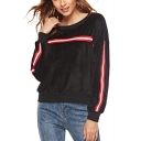 Black Round Neck Long Sleeve Tape Detail Pleuche Sweatshirt