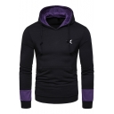 New Stylish Embroidery Star Printed Colorblock Long Sleeve Fitted Hoodie