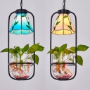 Tiffany Style Rustic Cone Suspension Light Glass 1 Light Beige/Blue Hanging Lamp for Bedroom