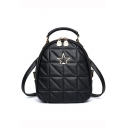 Trendy Solid Color Star Embellishment Black Diamond Quilted Backpack for Women
