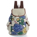 Designer Floral Pattern Beige School Backpack with Side Pockets 28*11*39 CM