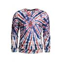 New Fashion 3D Tie Dye Graffiti Round Neck Long Sleeve Blue Sweatshirt