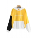 Hot Fashion BEAUTY IS IN THE EYE Letter Print Colorblock Patchwork Drawstring Hood Long Sleeve Hoodie with Pocket