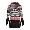 Hot Fashion Women's Christmas Print Patchwork V-Neck Drawstring Hood Long Sleeve Hoodie With Pocket