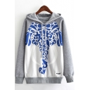 Novelty Blue and White Porcelain Elephant Printed Drawstring Hood Long Sleeve Fleece Hoodie