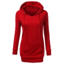 New Stylish Solid Color V-Neck Drawstring Hood Long Sleeve Slim Fit Cotton Longline Hoodie with Pocket