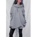 Women's personalized Solid Color Drawstring Hem Bat Sleeve Longline Loose Fit Hoodie