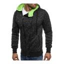 Men's New Stylish Simple Plain Long Sleeve Irregular Zip Up Sport Casual Drawstring Hoodie