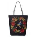 National Style Creative Floral Birds Printed Black Canvas Shoulder Bag 27*11*38 CM