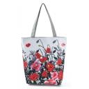 Unique Fashion Floral Printed White Canvas Shoulder Bag 27*11*38 CM