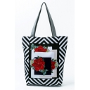 Creative National Style Geometric Floral Printed Black and White Tote Shopper Bag 27*11*38 CM