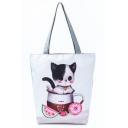Cute Cartoon Cat Printed White School Shoulder Bag 27*11*38 CM