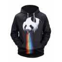 Funny Panda Rainbow 3D Print Long Sleeve Black Unisex Hoodie with Pocket