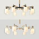 Black/White Cylinder Chandelier 8 Lights Modern Wood Glass Ceiling Light for Dining Room