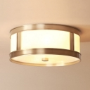 Contemporary Drum Ceiling Light 3/4 Lights Acrylic Flush Mount Light in White for Living Room