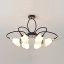 Creative Black Semi Ceiling Mount Light Twisted Arm 6/8 Lights Frosted Glass Ceiling Lamp for Restaurant